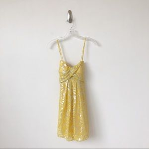 Nicole Miller Collection Silk Dress Yellow Silver
